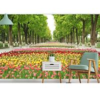 Tranh dán tường 3d công viên làng hoa PC42
