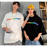 áo thun tay lỡ nam nữ Stee RAINBOW 3 size M L XL chất liệu vải cotton Ngầu Unisex