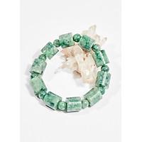 Vòng tay phong thủy đá cẩm thạch đốt vuông 13x13mm mệnh hỏa , mộc - Ngọc Quý Gemstones