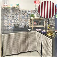 Rèm Dán Bếp, Kệ Bếp, Tủ Bếp gỗ/ đá MARYTEXCO chất liệu vải bố decor , không khoan đục, thay thế cửa tủ bếp giữ căn bếp gọn gàng xinh xắn - Giao hàng trong 8h làm việc - Họa tiết Kẻ Sọc, Hình Học