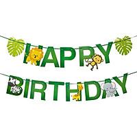 Dây chữ Happy Birthday trang trí sinh nhật hình thú rừng