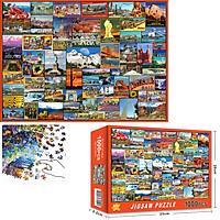 Bộ Tranh Ghép Xếp Hình 1000 Pcs Jigsaw Puzzle (Tranh ghép 70*50cm) Địa Danh Ở Mỹ Bản Thú Vị Cao Cấp