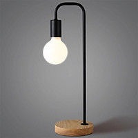 Creative Bedside Dormitory Reading Table Lamp Iron Design Wood Base Stand Simple Decoration Home Desk Night Lamp