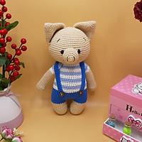 Gấu bông móc len Amigurumi cao cấp - Bé heo xinh tròn mặc quần yếm quà tặng nhồi bông - SP000044