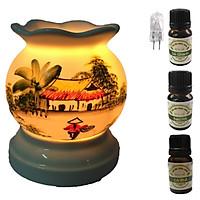 3 tinh dầu (Sả chanh, bạc hà, cà phê) Eco 10ml và đèn xông tinh dầu MNB01 và 1 bóng đèn