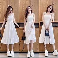 Váy Đầm Nữ Xinh 2 Dây Màu Trắng