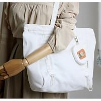 Túi tote vải canvas phom ngang phối dây rút trước và túi tròn in hình thời trang COVI nhều màu sắc T2