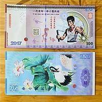 Tiền lưu niệm Lý Tiểu Long, huyền thoại Võ Thuật Hongkong, có bảo an phát quang khi soi dưới đèn soi tiền, mới 100% UNC, tặng túi nilon bảo quản