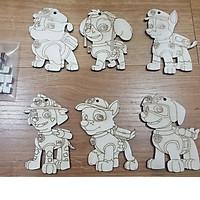 Đồ chơi tô màu bằng gỗ 6 chú chó cứu hộ, quà tặng cho bé sáng tạo