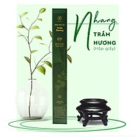 Nhang dược liệu thơm sạch Trầm Hương Herbio - hương tự nhiên, giúp ức chế vi khuẩn nấm trong không khí - An toàn dùng trong gia đình - Hộp giấy 40cm x 90 cây