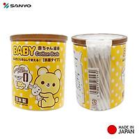 Hộp 250 tăm bông cao cấp Nhật Bản Sanyo màu vàng 100% Bông gòn tự nhiên kháng khuẩn an toàn cho bé
