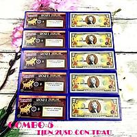 Combo 5 tờ 2 USD hình con Trâu mạ nhũ vàng 2021, dùng để sưu tầm, lưu niệm, làm tiền lì xì độc lạ, may mắn, ý nghĩa