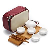 Bộ Ấm Chén Pha Trà Du Lịch DL3 - Bộ trà du lịch, có khay gỗ đẹp, THIẾT KẾ NHỎ GỌN, thuận lợi mang đi du lịch, công tác