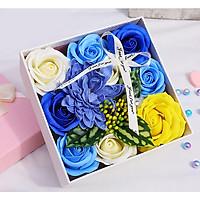 Hộp hoa hồng sáp thơm 15cm - màu xanh vàng