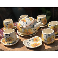 Bộ trà to vẽ hoa vàng
