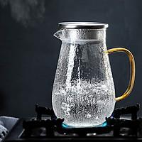 Bình đựng nước thủy tinh crystan vân nhám quai vàng - ANTH471
