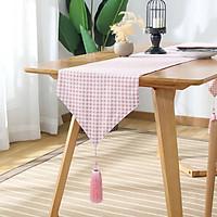 Khăn trải bàn table runner vải bố - Họa tiết Caro hồng - mẫu B06