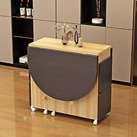 Bàn ăn thông minh tặng kèm 4 ghế, mẫu bàn ăn xếp gọn bằng gỗ hình chữ nhật kích thước 120x60cm, bàn gấp gọn