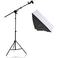 Bộ chân đèn TREO Chụp Ảnh Sản Phẩm, Studio, quay phim, Livestream chuyên nghiệp, gồm 01 chân đèn cao 2m kèm 01 Softbox 50x70cm + 01 thanh treo kèm đầy đủ phụ kiện dây cắm và công tắc đèn, túi cát đối trọng ( không kèm bóng)