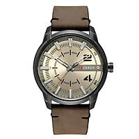 Đồng hồ Curren dây da thời trang Nam Quartz Analog Date  Relogio Masculino - Xám trắng