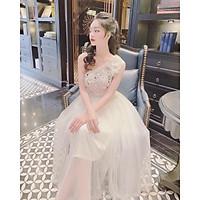Đầm dự tiệc công chúa lệch vai kết cườm sang trọng TRIPBLE T DRESS - size M/L (kèm ảnh/video thật) MS333V