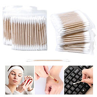 100pc Cotton Swabs Wooden Handle Double Tipped with Finest Quality Cotton Heads Multipurpose Safe Highly Absorbent Cotton-Tipped