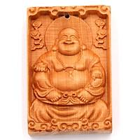 Mặt Gỗ Hoàng Đàn Khắc Hình Phật Di Lặc MG25