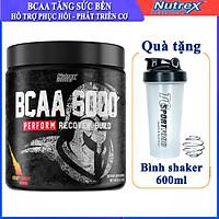 Combo BCAA 6000 của Nutrex hộp 30 lần dùng hỗ trợ tăng sức bền, sức mạnh, phục hồi và phát triển cơ bắp trong tập cho người tập GYM & Bình lắc 600ml (Mẫu ngẫu nhiên)