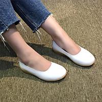 Giày búp bê nữ đế xuồng da microfiber cao cấp màu trắng siêu mềm êm chân tôn dáng đẹp