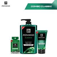 Combo Romano : Dầu gội 650g + Nước hoa bỏ túi 18ml + Gel vuốt tóc giữ nếp tự nhiên 150g