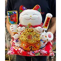 Mèo Thần Tài tay vẫy 30cm mẫu 01 Thiên Kim Vạn Lượng (tặng kèm túi 50 xu vàng may mắn)