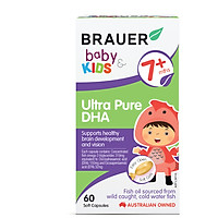 bổ sung DHA Brauer cho trẻ trên 7 tháng tuổi (60 viên) Brauer baby kids Ultra Pure DHA.