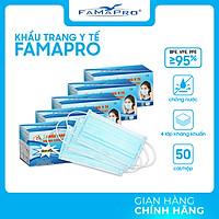 [HỘP - FAMAPRO] - Khẩu trang y tế kháng khuẩn 4 lớp Famapro (50 cái/ hộp) - COMBO 5 HỘP