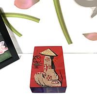 Hộp Đựng Card Visit Hình Cô Gái Cẩn Trứng - Nền Đỏ