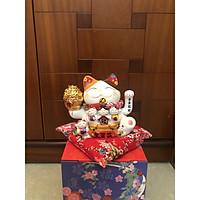 Mèo Thần Tài Sứ , Mèo May Mắn Maneki Neko cao 16cm