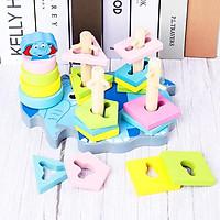 Bộ đồ chơi giáo dục bằng gỗ phối hợp hình khối và tháp cầu vồng cho bé  - DC003