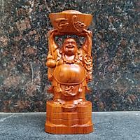 Tượng phật di lặc dâng vàng gỗ hương Tượng phật di lặc để bàn gỗ hương Tượng phật di lặc làm bằng gỗ