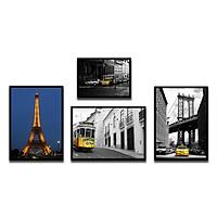Bộ 4 Khung Hình Kính Treo Tường Tặng bộ ảnh như hình mẫu, Đinh Treo Tranh và sơ đồ treo - Khung Hình Phạm Gia PGCTK61