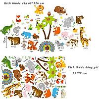 Decal dán tường cho bé  học tiếng anh các loài thú SK9296