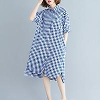 Đầm suông sơ mi form rộng kẻ caro xanh 2 túi chéo LAHstore, thời trang xuân hè 2020