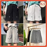Quần đùi xẻ logo KA Closet 3 màu Đen, Tàn, Trắng from rộng dài unisex nam nữ mặc được