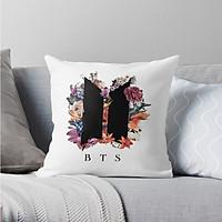 Gối BTS in Logo chùm hoa gối vuông trang trí