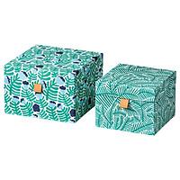 IKEA LANKMOJ Bộ hộp trang trí 2 hoa văn màu xanh xanh Decoration box set of 2 green blue floral patterned