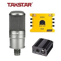 Combo mic thu âm Takstar SM-8B, Soundcard K10 - HÀNG CHÍNH HÃNG