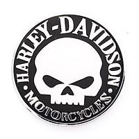 Sticker hình dán metal Đầu Lâu Harley Davidson Hình Tròn