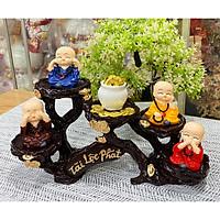 Bộ 04 tượng Tứ Không đeo xâu chuỗi kèm chum vàng và chân đế ánh vàng Tài Lộc Phát thuần Việt