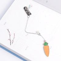 Bookmark kim loại mặt dây chuyền đính ngọc trai sáng tạo - Củ cà rốt