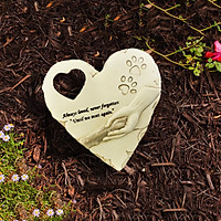Resin Dog Pet Memorial Stones, Heart-Shaped Gravestone Loss of Pet Dog Memorial Gifts with Sympathy Poem