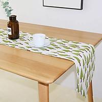 Khăn trải bàn table runner vải bố - Họa tiết cây thông - mẫu D07