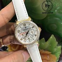 Đồng hồ nữ SUNRISE 9806BA dây da 5 Kim Vành Đá Siêu sang Kính Sapphire chống xước ch